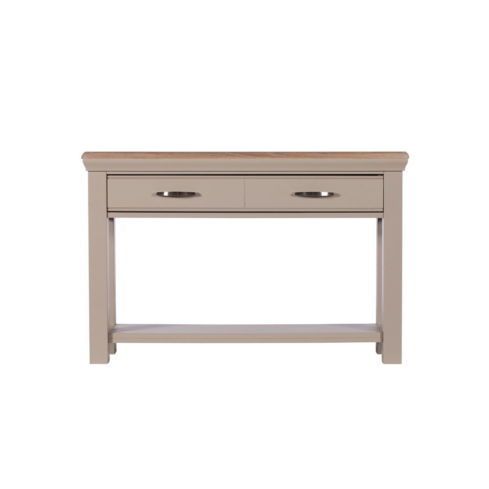 Lusso grey painted console table with oak top for Sofa table grey