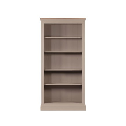 Lusso grey painted bookcase with oak tops