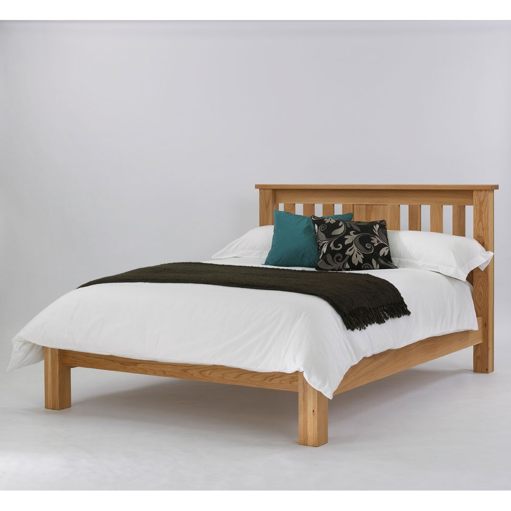 Quercus solid oak slat bed low foot end con tempo furniture for Foot of bed furniture