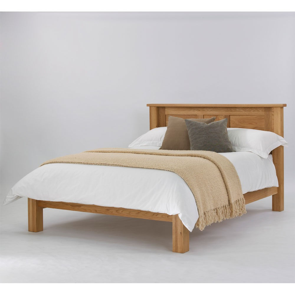 Quercus solid oak panel bed low foot end con tempo furniture for Foot of bed furniture