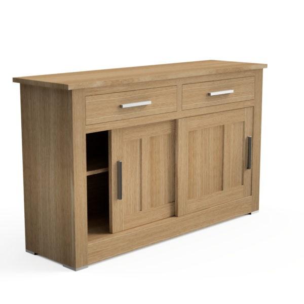 Quercus Contemporary Oak Sliding Door, Oak Furniture Land Drawer Handles