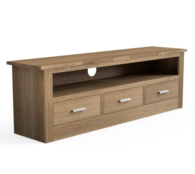 Quercus Solid Oak 3 Drawer TV Media Unit